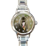 Mandrill Monkey Round Italian Charm Watch