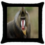 Mandrill Monkey Throw Pillow Case (Black)