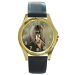 Mandrill Monkey Round Gold Metal Watch