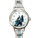 Vehicles Motorcycle Racer Round Italian Charm Watch