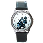 Vehicles Motorcycle Racer Round Metal Watch