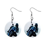 Vehicles Motorcycle Racer 1  Button Earrings