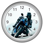 Vehicles Motorcycle Racer Wall Clock (Silver)