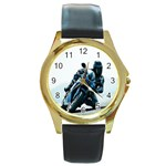 Vehicles Motorcycle Racer Round Gold Metal Watch