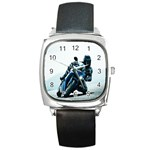 Vehicles Motorcycle Racer Square Metal Watch