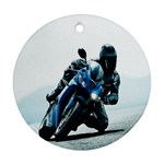 Vehicles Motorcycle Racer Round Ornament (Two Sides)