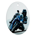 Vehicles Motorcycle Racer Oval Ornament (Two Sides)