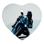 Vehicles Motorcycle Racer Heart Ornament (Two Sides)