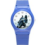 Vehicles Motorcycle Racer Round Plastic Sport Watch Small