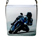 Vehicles Motorcycle Racer Flap Closure Messenger Bag (Large)