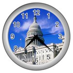 Usa White House Wall Clock (Silver)