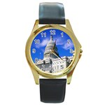 Usa White House Round Gold Metal Watch