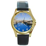 Water And Desert Band Eamir Afghanistan Round Gold Metal Watch
