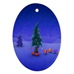Walking Christmas Tree In Holiday Ornament (Oval)