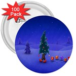 Walking Christmas Tree In Holiday 3  Button (100 pack)