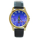 Walking Christmas Tree In Holiday Round Gold Metal Watch