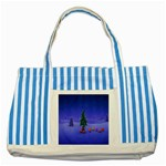 Walking Christmas Tree In Holiday Striped Blue Tote Bag