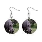Wild Animal Rhino 1  Button Earrings