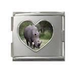 Wild Animal Rhino Mega Link Heart Italian Charm (18mm)