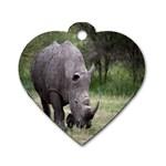 Wild Animal Rhino Dog Tag Heart (Two Sides)