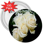 White Rose 3  Button (100 pack)