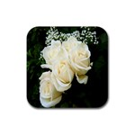 White Rose Rubber Square Coaster (4 pack)