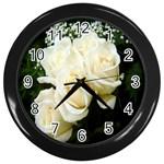 White Rose Wall Clock (Black)