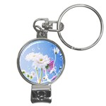 White Gerbera Flower Refresh From Rain Nail Clippers Key Chain