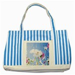 White Gerbera Flower Refresh From Rain Striped Blue Tote Bag