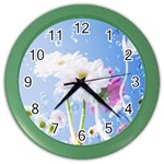 White Gerbera Flower Refresh From Rain Color Wall Clock