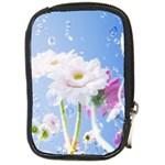 White Gerbera Flower Refresh From Rain Compact Camera Leather Case