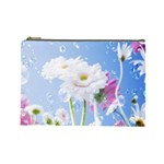 White Gerbera Flower Refresh From Rain Cosmetic Bag (Large)