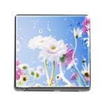 White Gerbera Flower Refresh From Rain Memory Card Reader with Storage (Square)
