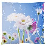White Gerbera Flower Refresh From Rain Large Cushion Case (One Side)