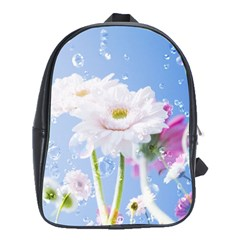 White Gerbera Flower Refresh From Rain School Bag (XL) from DesignYourOwnGift.com Front