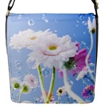 White Gerbera Flower Refresh From Rain Flap closure messenger bag (Small)
