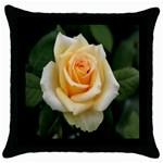 Yellow Rose Throw Pillow Case (Black)