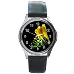 Yellow Freesia Flower Round Metal Watch