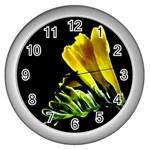 Yellow Freesia Flower Wall Clock (Silver)