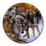 Wolf Family Love Animal Round Mousepad
