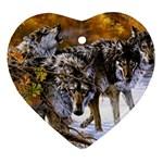 Wolf Family Love Animal Ornament (Heart)