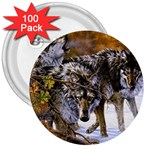Wolf Family Love Animal 3  Button (100 pack)