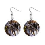 Wolf Family Love Animal 1  Button Earrings