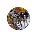 Wolf Family Love Animal Rubber Round Coaster (4 pack)