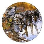 Wolf Family Love Animal Magnet 5  (Round)