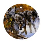 Wolf Family Love Animal Round Ornament (Two Sides)