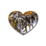Wolf Family Love Animal Rubber Coaster (Heart)