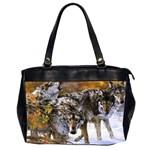 Wolf Family Love Animal Oversize Office Handbag (Two Sides)
