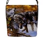 Wolf Family Love Animal Flap Closure Messenger Bag (Large)
