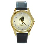 Beauty Of Peaceful Bonsai Tree Round Gold Metal Watch